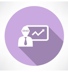 Businessman about statistics icon vector