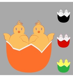Two in one chicken egg vector