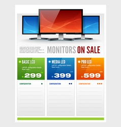 Flat lcd monitor display sale brochure vector