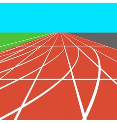 Red treadmill at the stadium with white lines vector
