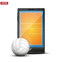 Smartphone with volleyball ball and field on the vector