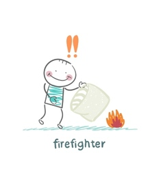 Firefighter extinguishes a fire pillow vector