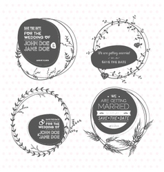 Set of floral wedding stamps vector