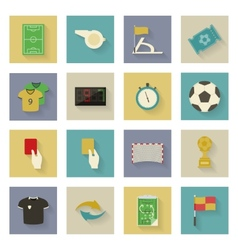 Soccer flat icons set with shadows vector