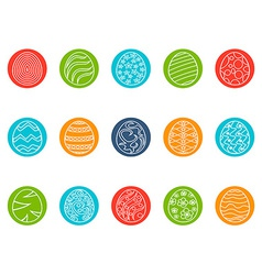 Easter egg round button icons set vector