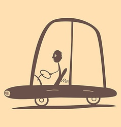 Flat design retro man driving car vector