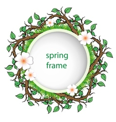 Spring frame with grass and leaves vector