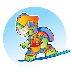 Alien flying on air skateboard vector