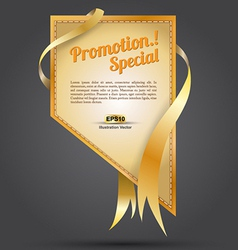 Tag gold promotion rectangle ribbon vector