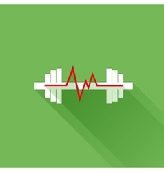 Sports heart rate flat icon vector