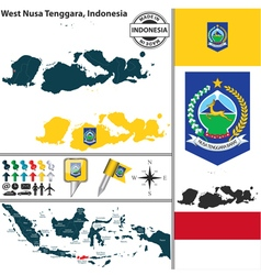 Map of west nusa tenggara vector