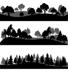 Set of different landscape with trees vector