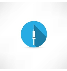 Medical syringe in the blue circle vector