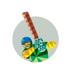 Cricket player batsman batting low polygon vector