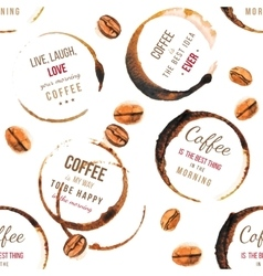 Coffee stains with type designs seamless pattern vector