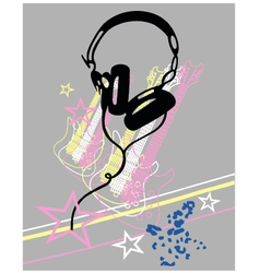 Headphone guitar music poster vector