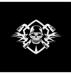 Crest with skull in helmet and spanners vector