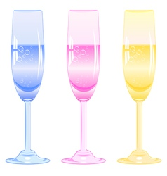 Glasses of fizzy drink vector
