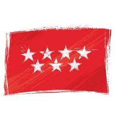 Grunge community of madrid flag vector