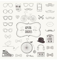 Hipster retro vintage doodle icon set vector
