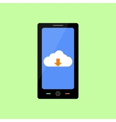 Flat style smart phone with cloud downloading vector