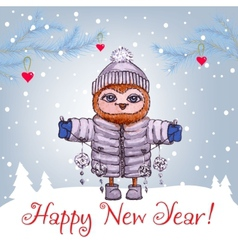 Happy new year greeting card with cute owl in vector