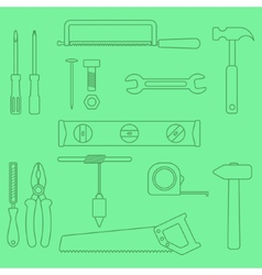 Set of outline hand tools on green background vector