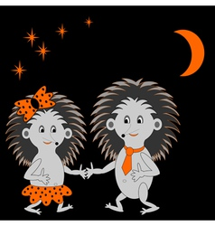 A couple of funny hedgehogs dating in the night vector