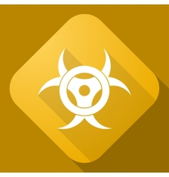 Icon of bio hazard sign with a long shadow vector