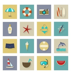 Beach vacation and travel flat icons set with vector