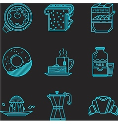 Breakfast blue line icons vector