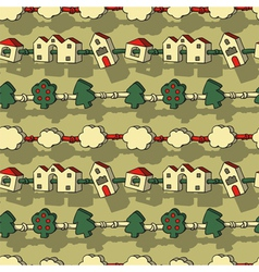 Houses and trees vector
