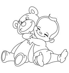 Outlined baby hug bear vector