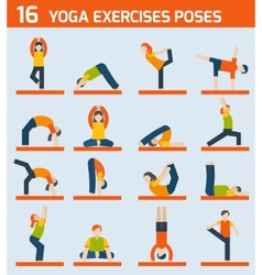 Yoga exercises icons vector