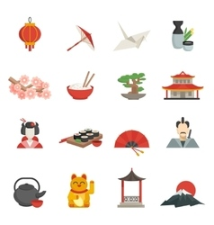 Japanese icons flat set vector