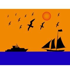 Sailing boat albatrosses to orange blue background vector