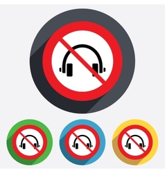 No headphones sign icon earphones button vector