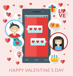 Smartphone with love sms and st valentine icons vector