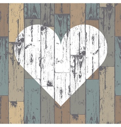 Heart on wooden pattern vector