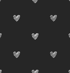 Seamless chalk pattern of hearts vector