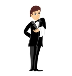 Waiter in black suit with towel vector