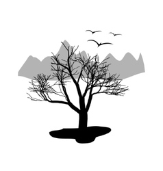 Landscape desert dry tree with mountains in the vector