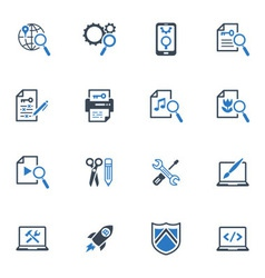 Seo and internet marketing icons set 1-blue series vector