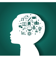 Child head with education icons vector