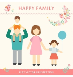 Family with children kids people concept flat vector