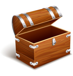 Old empty vintage wooden trunk vector