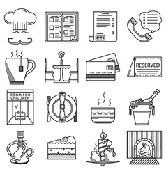 Restaurant black line icons collection vector