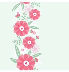 Peony flowers and leaves vertical seamless pattern vector