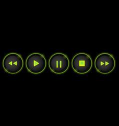 Neon control buttons vector