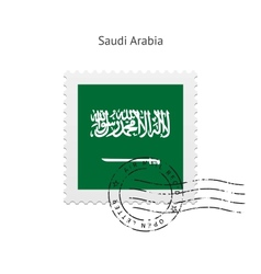 Saudi arabia flag postage stamp vector